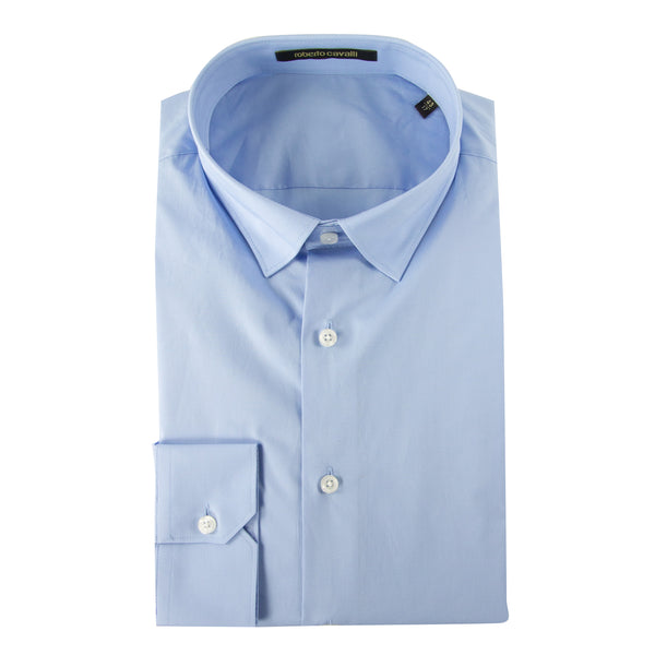 Roberto Cavalli Slim-Fit Dress Shirt in Light Blue - ACCESSX