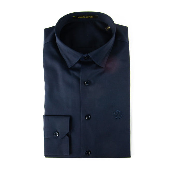 Roberto Cavalli Slim-Fit Dress Shirt in Navy - ACCESSX