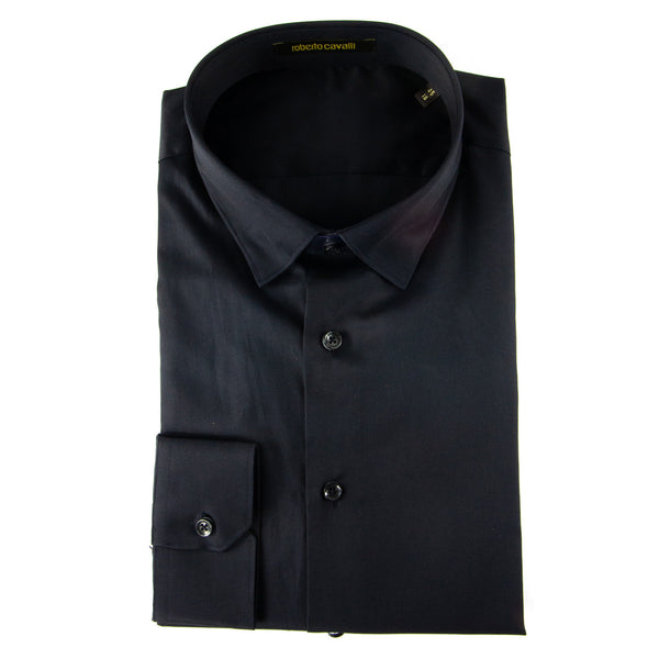 Roberto Cavalli Slim-Fit Dress Shirt in Black - ACCESSX