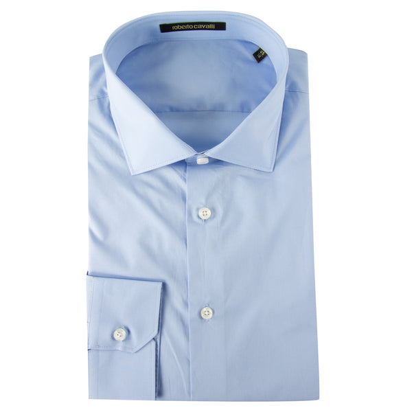 Roberto Cavalli Comfort-Fit Embroidered Dress Shirt in Light Blue - ACCESSX