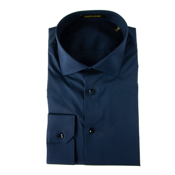 Roberto Cavalli Comfort-Fit Embroidered Dress Shirt in Navy - ACCESSX