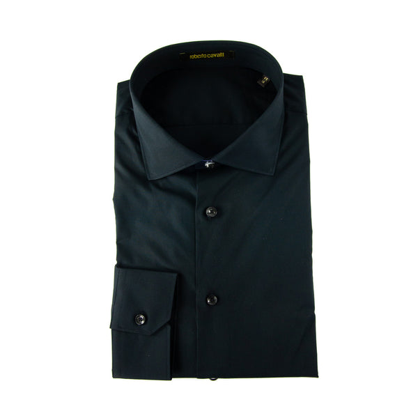 Roberto Cavalli Comfort-Fit Embroidered Dress Shirt in Black - ACCESSX