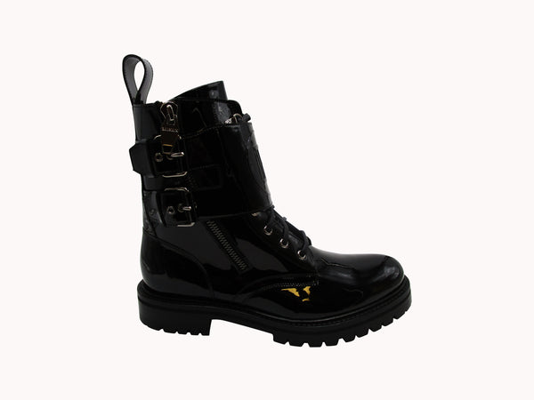 BALMAIN BLACK PATENT LEATHER PHIL RANGER ANKLE BOOTS