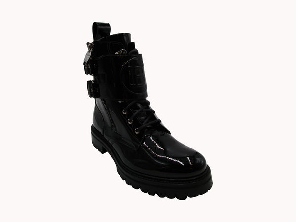 BALMAIN BLACK PATENT LEATHER PHIL RANGER ANKLE BOOTS - ACCESSX