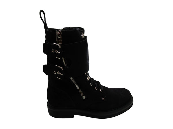 BALMAIN BLACK SUEDE NICK RANGER ANKLE BOOTS