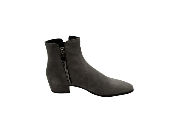 BALMAIN GREY SUEDE ANKLE BOOTS - ACCESSX