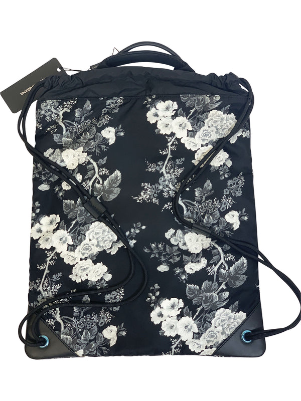 Dolce and Gabbana Mens Navy Drawstring Backpack With Floral Print - ACCESSX