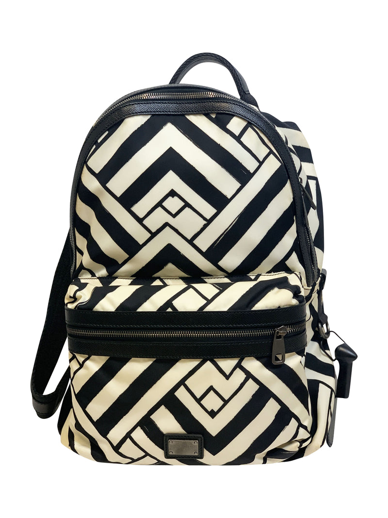 Dolce and Gabbana Mens White and Black Print Backpack - ACCESSX