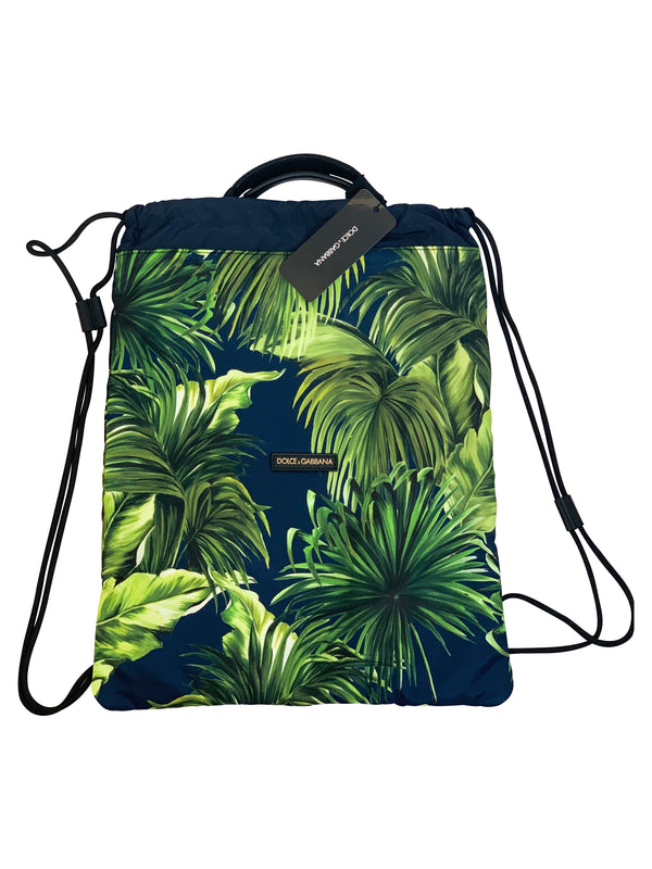Dolce and Gabbana Mens Drawstring Backpack With Leaf Print - ACCESSX