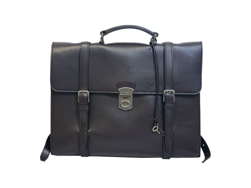 Dolce and Gabbana Mens Dark Brown Leather Briefcase - ACCESSX