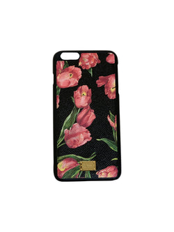 Dolce and Gabbana Womens Black/Rose Multi Print Phone Case - ACCESSX
