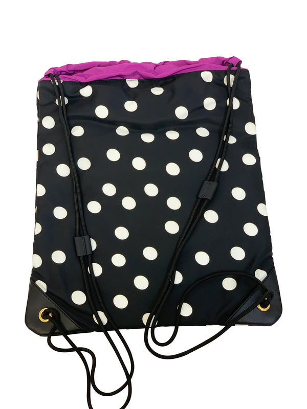 Dolce and Gabbana Black and White Polka Dot Drawstring Backpack - ACCESSX