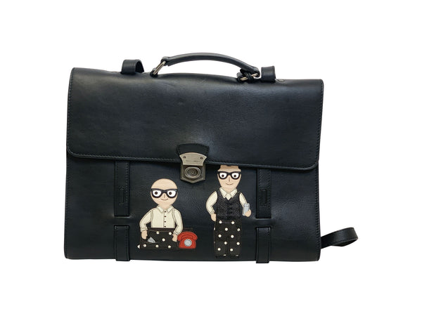Dolce and Gabbana Mens Black Leather Family Print Briefcase - ACCESSX
