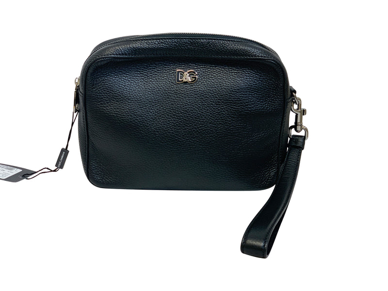 Dolce and Gabbana Mens Black Leather Royal Clutch - ACCESSX