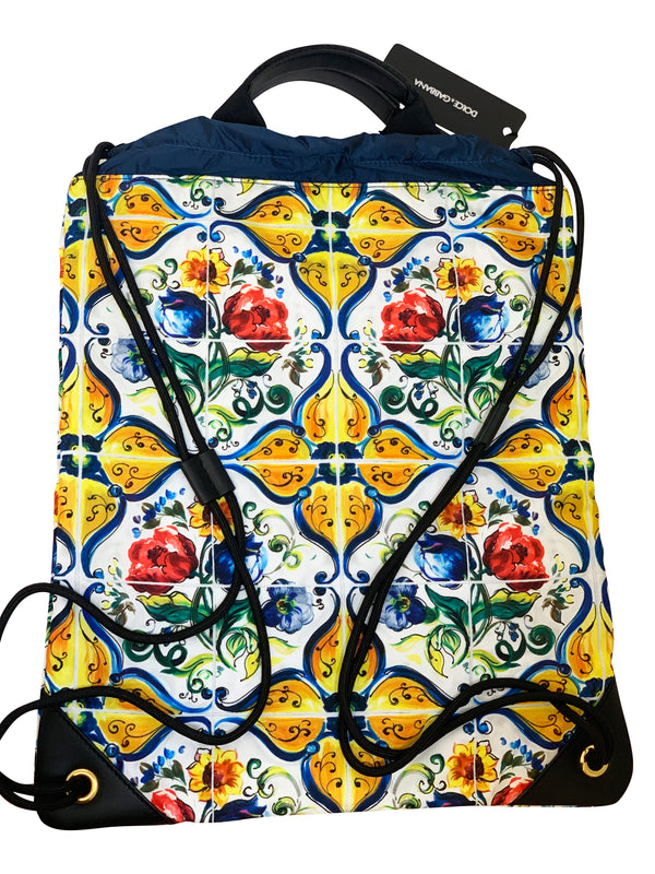Dolce and Gabbana Mens Multicolored Designed Drawstring Bag - ACCESSX