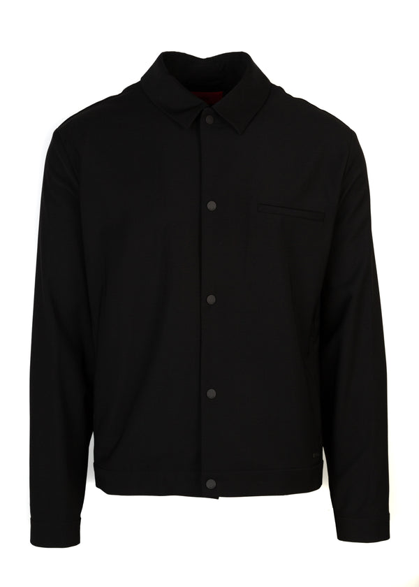 HUGO By Hugo Boss Mens Black Benekto Wool Blend Shirt Jacket - ACCESSX
