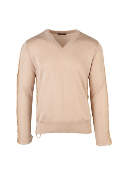 Balmain Mens Beige V-Neck Sweater - ACCESSX