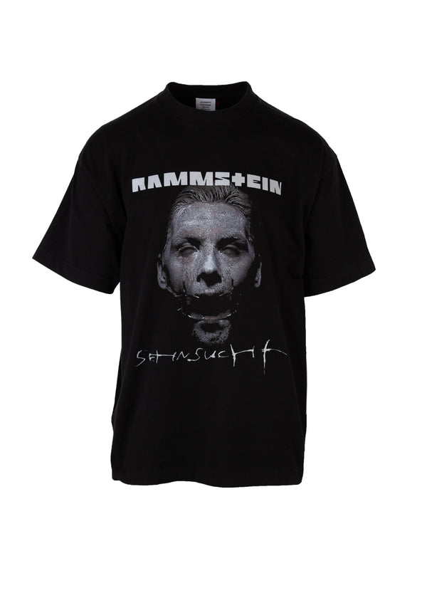 Vetements Mens Black Oversized Rammstein Print Tee - Tribeca Fashion House