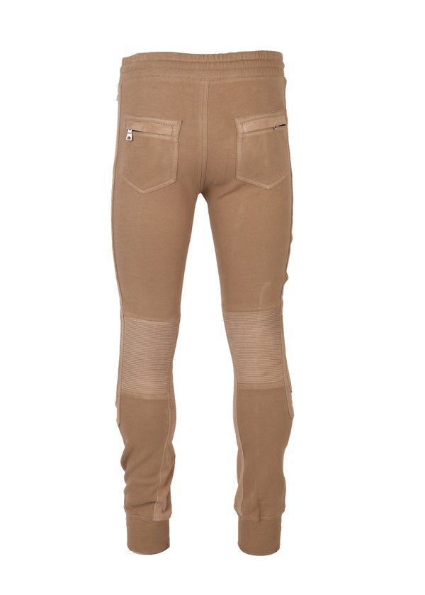 Balmain Mens Beige Cotton Leather Biker Jogger Sweatpants - Tribeca Fashion House