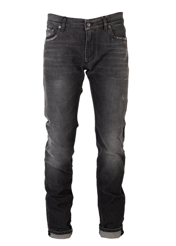 Dolce & Gabbana Mens Grey Denim Distressed Regular Fit Jeans - Tribeca Fashion House