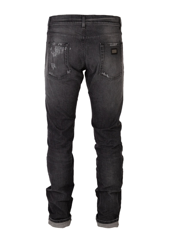 Dolce & Gabbana Mens Grey Denim Distressed Regular Fit Jeans - ACCESSX
