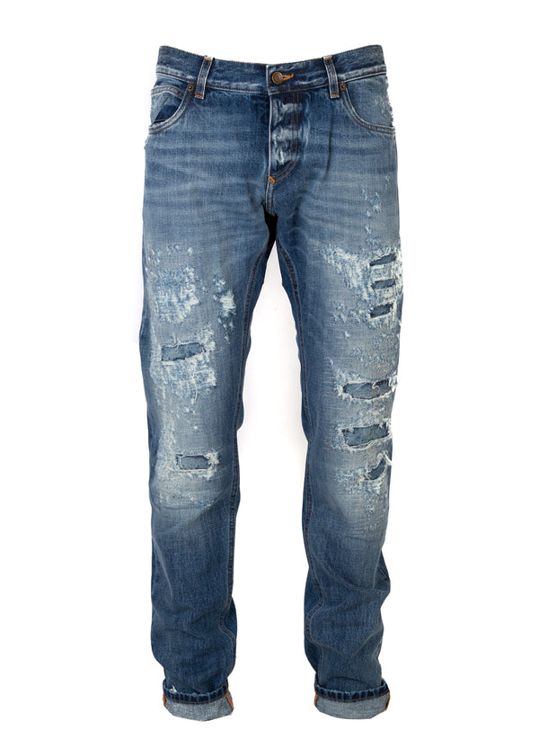 Dolce & Gabbana Mens Blue Denim Distressed Regular Fit Jeans - ACCESSX