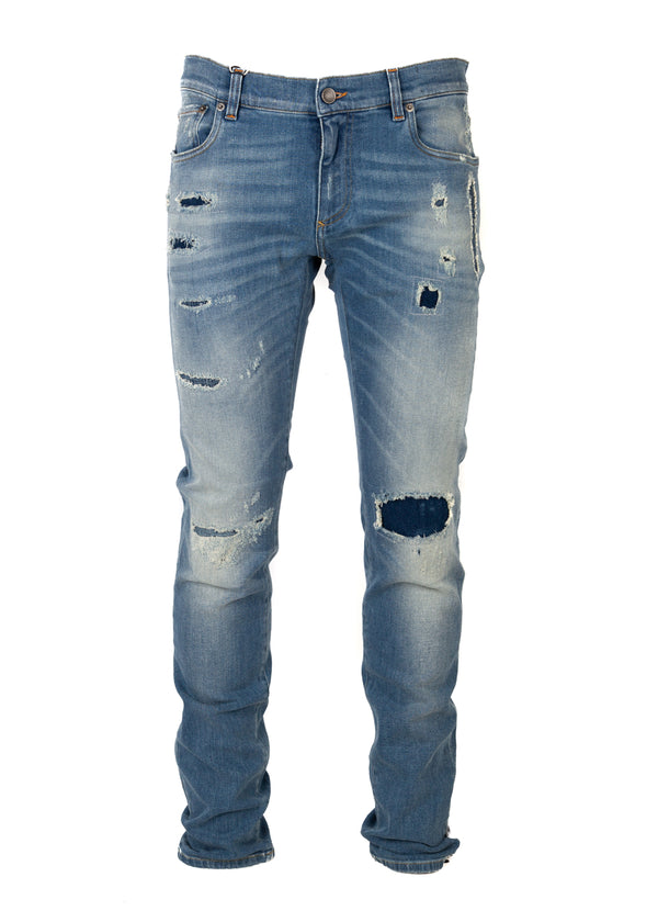 Dolce & Gabbana Mens Light Blue Denim Distressed Regular Fit Jeans - ACCESSX