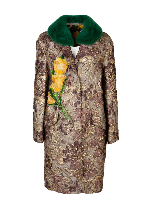 Dolce & Gabbana Womens Pink Gold Floral Jacquard Fur Collared Coat - Tribeca Fashion House