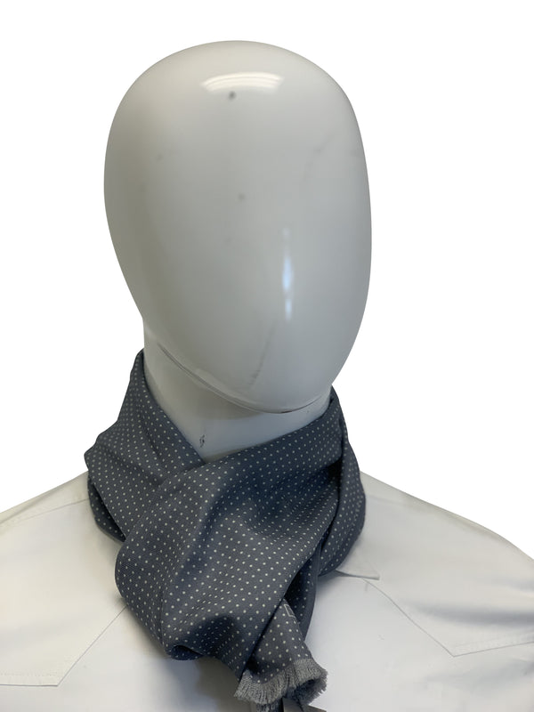Tom Ford Mens Grey Polka Dot Scarf - ACCESSX