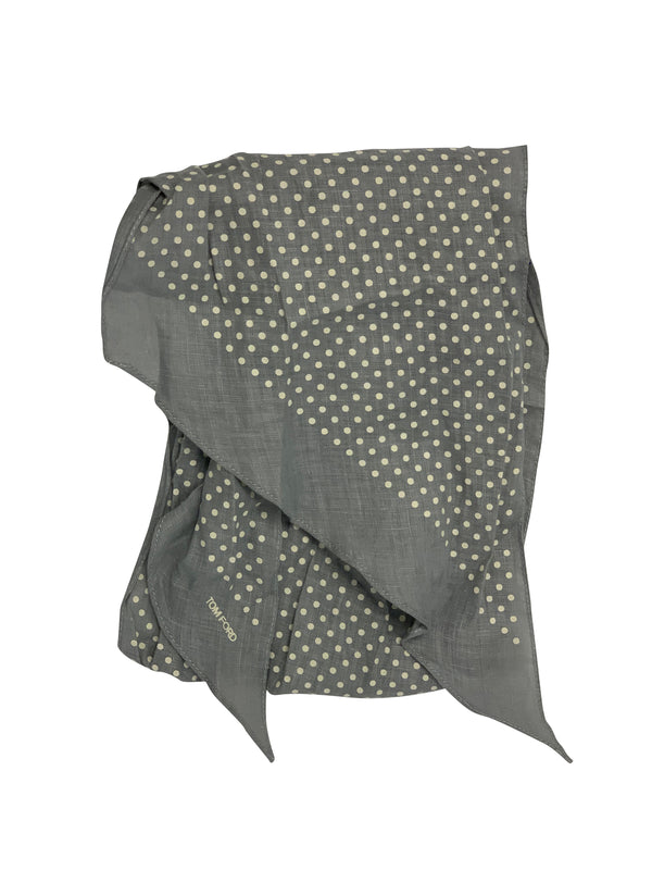 Tom Ford Mens Grey/Cream Polka Dot Scarf - ACCESSX