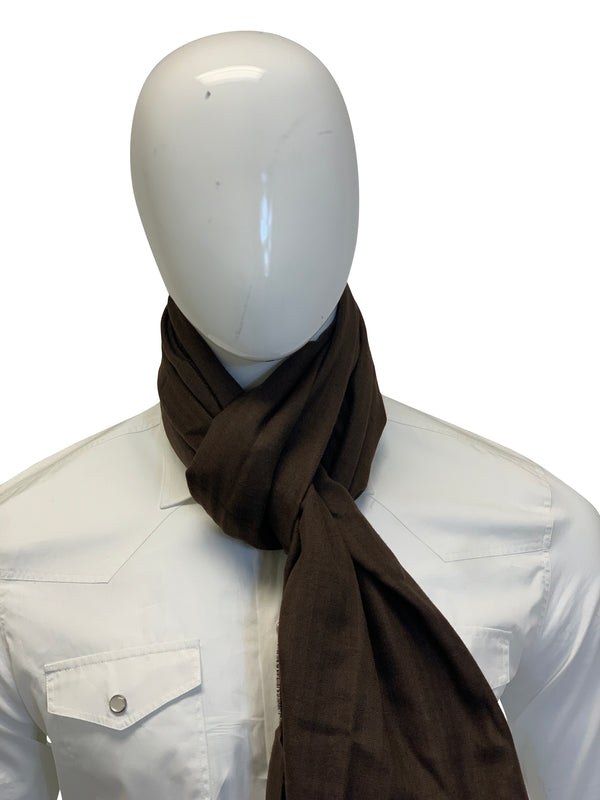Tom Ford Mens Classic Dark Brown Scarf - ACCESSX