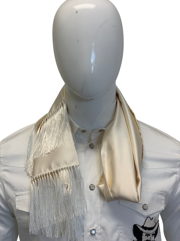 Tom Ford Mens Cream With Fringe Scarf - ACCESSX