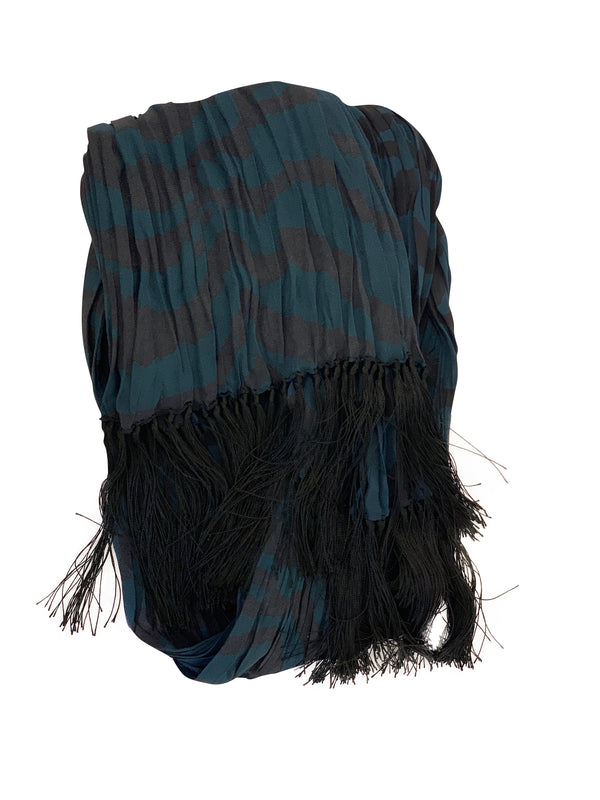 Tom Ford Mens Electric Blue/Black Multicolored Scarf - ACCESSX