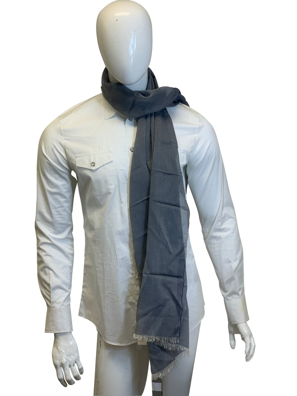 Tom Ford Mens Dark Grey With Cream Scarf - ACCESSX