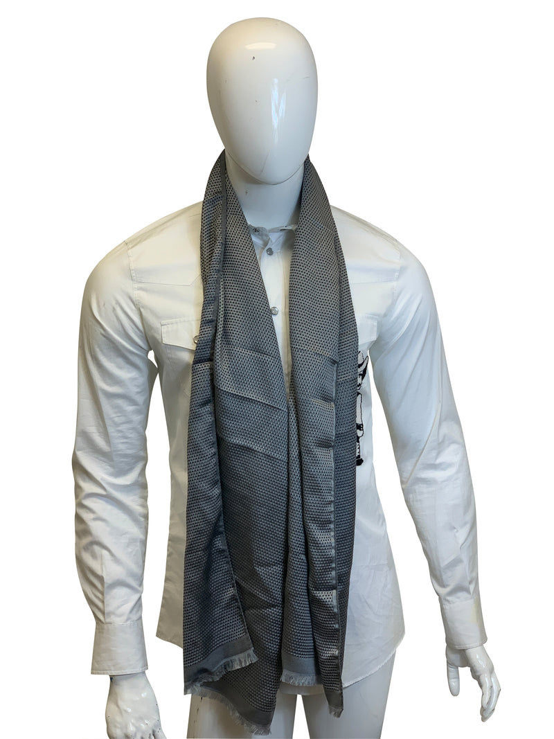 Tom Ford Mens Grey and Black Multicolored Scarf - ACCESSX