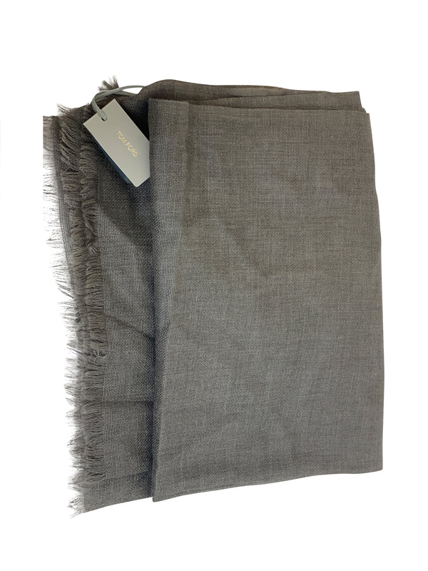 Tom Ford Mens Grey Designed Scarf - ACCESSX