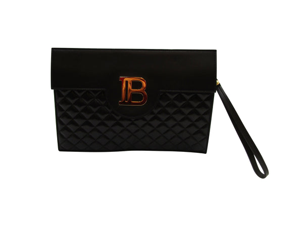 BALMAIN QUILTED BLACK LEATHER B-POUCH CLUTCH