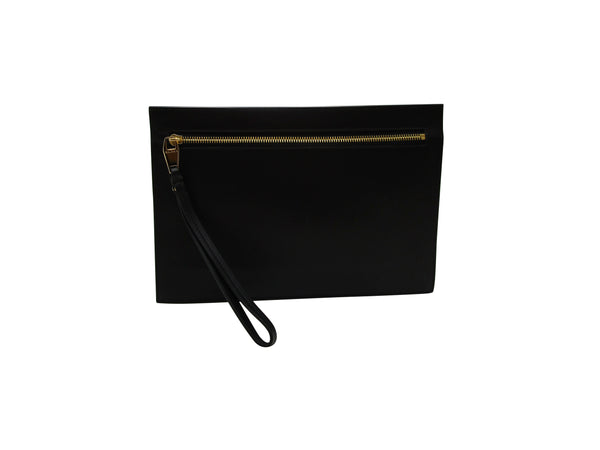 BALMAIN QUILTED BLACK LEATHER B-POUCH CLUTCH - ACCESSX
