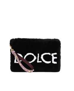 Dolce & Gabbana Cleo Fur Pouch with Logo - ACCESSX