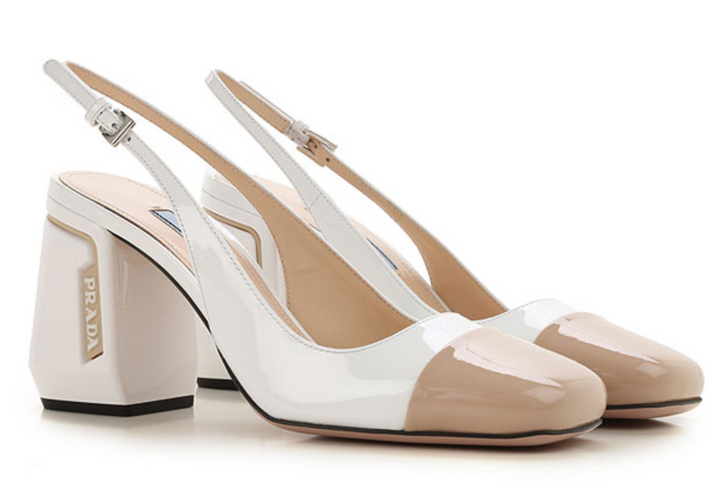 Prada White Leather Heels - ACCESSX