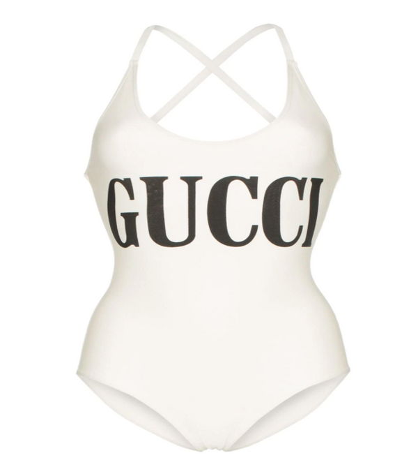 Gucci Branded One Piece Swimsuit in Ivory - ACCESSX