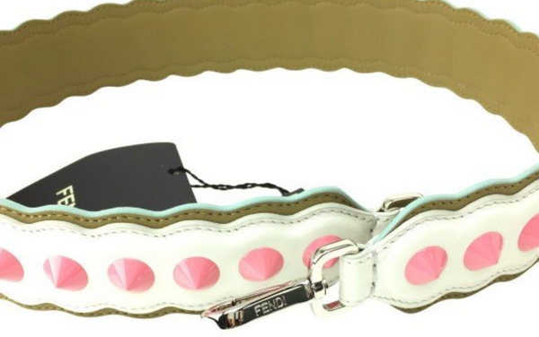 Fendi Bag Strap In White & Pink - ACCESSX