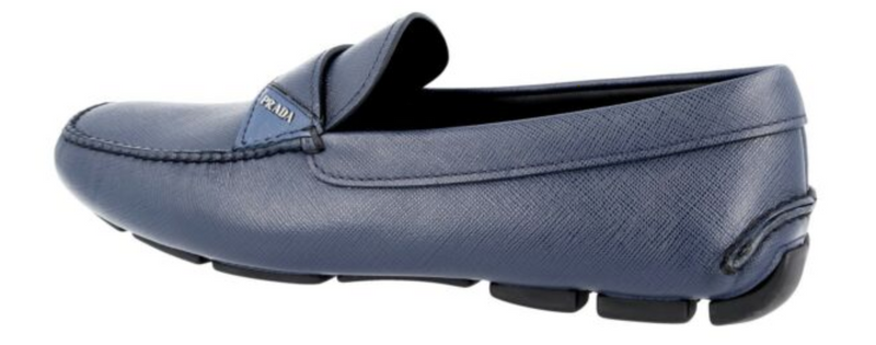 Prada Loafers in Blue Saffiano - ACCESSX