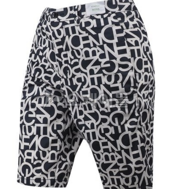 Hugo Boss Shorts in Blue & White Printed Logo - ACCESSX