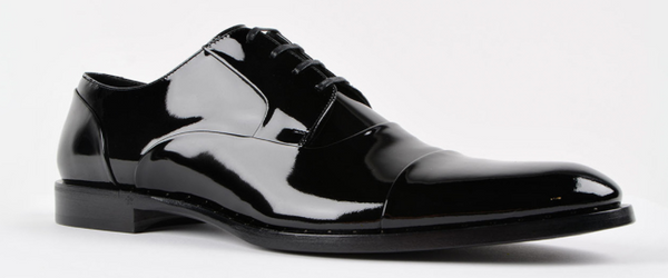 Dolce & Gabanna Patent Tapered Toe Derby Shoes in Black - ACCESSX