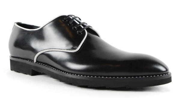 Dolce & Gabbana Contrasting Piping Derby Shoes In Black & White - ACCESSX