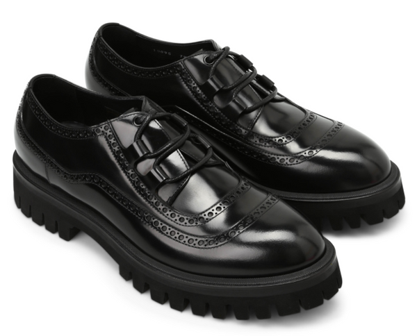 Dolce & Gabbana Correggio Leather Derby Shoes in Black - ACCESSX