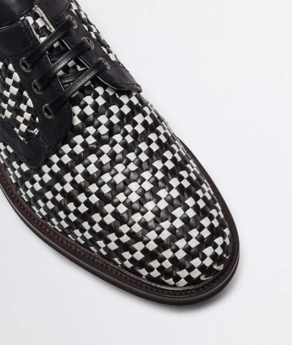Dolce & Gabbana Woven Leather Lace-up Shoes In Black/White