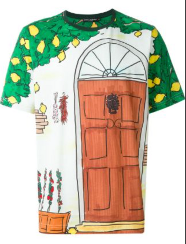 Dolce & Gabbana Door Drawing Print T-Shirt - ACCESSX