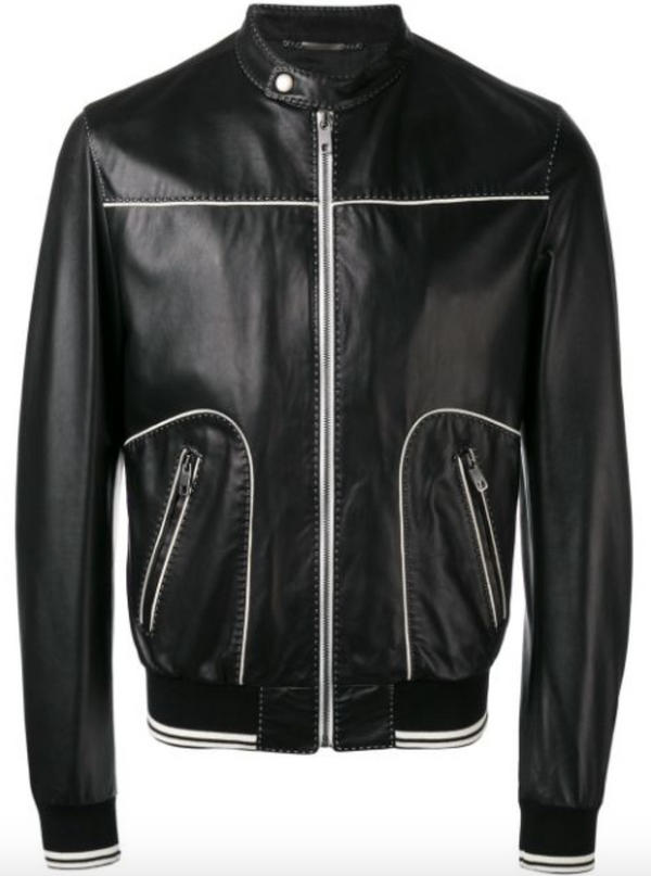 Dolce & Gabbana Contrast Trim Leather Jacket - ACCESSX